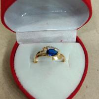 cincin mata putih 3 biru 1 gram emas muda