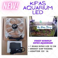 KIPAS AQUARIUM AQUASCAPE LED SINGLE BIG FAN PENDINGIN AIR 12 X 12 CM