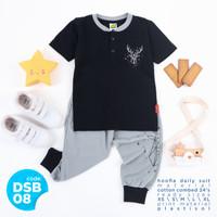 Setelan Kaos Jogger Anak Laki Laki Hooflakids Daily Suit Usia 1-10 Thn - DSB08- Hitam, S
