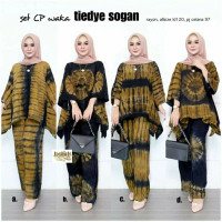 ONE SET CP Waka Tiedye Sogan Setcel Modern Handmade Cantik Baju Pergi