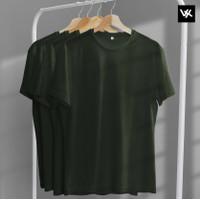 Kaos Polos Warna Hijau Army Bahan Premium Cotton Combed 20s