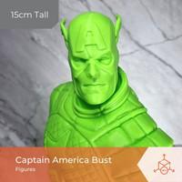 Captain America Bust   Figures   Action Figure   3D Print Figure - Putih