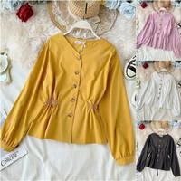 BLOUSE POKA TOP / Atasan Wanita Terbaru / Baju Wanita Lengan Panjang