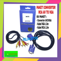 PAKET CONVERTER AV TO VGA BOX MINI / RCA TO VGA / AV2VGA WITH AUDIO