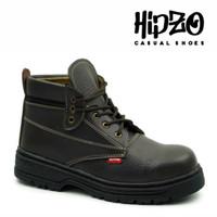 Sepatu Boots Pria Kerja Ori Hipzo Sepatu Riding Cowok Sepatu Kulit - Hitam, 40