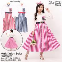 pakaian fashion dress tunik anak perempuan katun 6-12 thn - Merah, Uk 4, 3-4thn