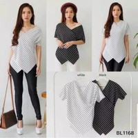 Baju Atasan Wanita Ediz Top Blouse Lengan Pendek - Putih