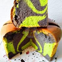 Kue Chiffon rasa pandan, ketan hitam, kopi, biscoff kenari, coklat, ke - Pandan