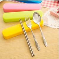 Garpu Sendok Set Stainless Pastel Travel Cutlery / Sendok+Garpu+Sumpit