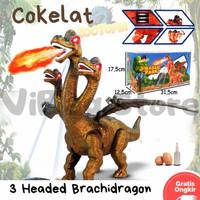 Mainan Dinosaurus 3head Baterai - Dinosaurus LED Asap Bertelur Suara