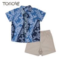 TORIO Smart Casual Blue Batik Set - Baju Setelan Batik Anak Laki-laki