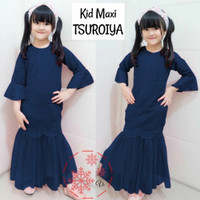 WNX - Maxi Kid Tsuroiya Brukat / Baju Gamis Anak Perempuan - navy