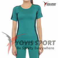 baju Senam zumba aerobik atasan lengan pendek bahan spandek yovissport - tosca, L