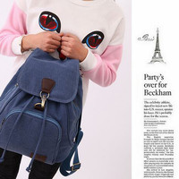 TR5 Tas Ransel Backpack Wanita Kanvas Sekolah Slingbag Sling Bag Cewek - Biru, M