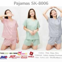 Homewear / Piyama Korea Katun Jepang - Celana Pendek Motif Kotak 8006