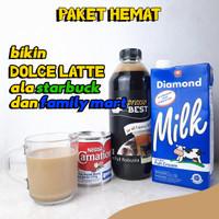 susu kental manis carnation + susu diamond UHT + espresso cair paket - full robusta