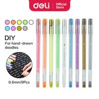 Deli Colorful Gel Pen Pulpen Gel 0.6mm 9pcs/pack Warna-Warni A166