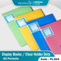 Penpal Display Book / Clear Holder 40 Pockets Motif Dots Pastel PL-824