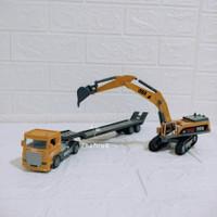 Diecast Set Truk Trailer Excavator Alloy - Mainan Miniatur Mobil Beko