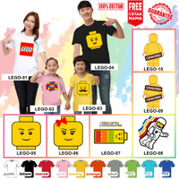 Kaos / Baju LEGO COUPLE ANAK BANYAK MOTIF (FREE NAMA) - Kaos Putih, Size 0 (6-12bln