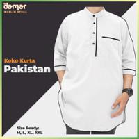 Baju Koko Putih Kurta Pakistan Pria Lengan Pendek Qomishu Original