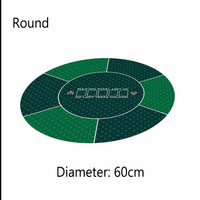 60cm Round Poker Table Cloth Classic Green Rubber Poker Layout Texas