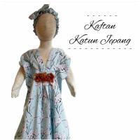 baju dress kaftan motif bunga free bandana lucu anak cewek perempuan