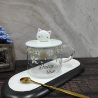 Mug gelas kaca transparan Cute FLOWERS CAT / gelas teh lucu - Daisy Rain