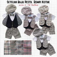 Baju Setelan Pesta Anak Bayi Laki Cowok Rompi Jas Kotak Pendek