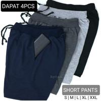 (Paket 4 Pcs) Celana Pendek Polos Bahan Adem