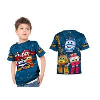Kaos Baju Anak Robot Train 3D Kartun Perempuan Laki-laki Custom - S