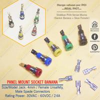 4mm Socket Banana Binding Post Panel + Skun Female Konektor Spade Lugs