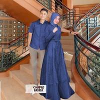 Baju Couple Gamis Wanita Kemeja pria Couple Mewah BADRIA - Navy