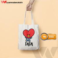 Tote Bag BTS Tas Tote Bag Custom Satuan Tote Bag Blacu BTS BT21 Tata