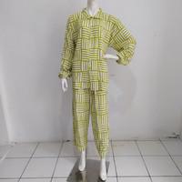 setelan celana panjang wanita batik size jumbo santung premium - tosca