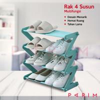 PARIM RAK SEPATU / RAK SANDAL 4 SUSUN / RAK BUKU / RAK SEPATU PRM-202 - Biru