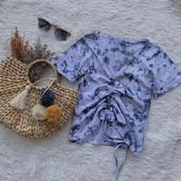 Baju Atasan Wanita Blouse Lusia Tie Dye Kaos Wanita Lengan Pendek - Tosca