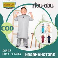 Baju Koko Anak laki laki terbaru bahan katun / Setelan Muslim Anak - Abu-abu, 1-2 th