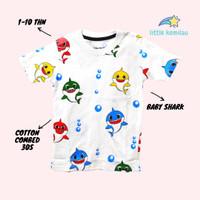 Kaos Baju Anak Balita Karakter Baby Shark Fullprint Cotton Combed 30s - S
