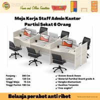 Meja Kerja Staff Kantor Workstation Partisi Cubicle 6 Orang PW WS