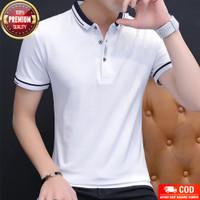 Kaos Polo Haban WHITE Baju Distro TShirt Lengan Pendek Pria Poloshirt