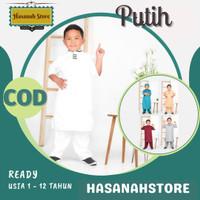 Baju Koko Muslim Anak Laki Laki Murah Terbaru 2020 Bahan Katun Nyaman - Putih, 1-2 th