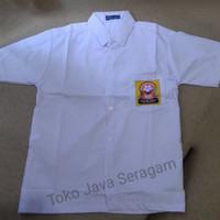 Baju Seragam Sekolah SMP MTs Kemeja Putih Lengan Pendek Logo Osis
