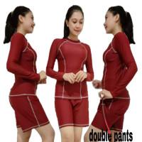 baju renang wanita baju surfing baju diving dewasa baju renang setelan - STL Maroon, M