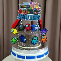 Among Us Game Topper Cake Birthday / Hiasan Kue Ulang Tahun