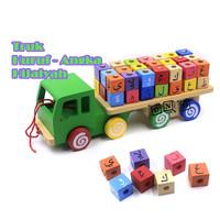 Mainan Edukasi Anak Truk Kayu Huruf Angka Hijaiyah Arab Balok Iqro
