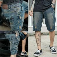 Celana Jeans Pendek Sobek Pria Ukuran Besar 33 34 35 36 37 38