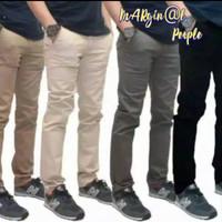 celana chino panjang slimfit / celana cino pria - Hitam, 27