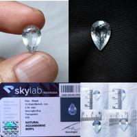 Batu Natural Aquamarine Beryl Pear cut 2.35ct NTE Kristal Top Luster
