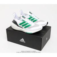Adidas UltraBoost 21 ORI sepatu lari pria dan wanita putih dan hijau